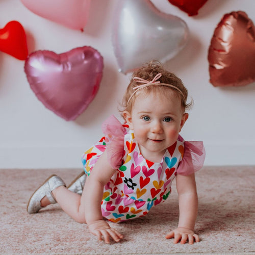 Infant Girls Multicolor Hearts Bubble Romper with Tulle Sleeves