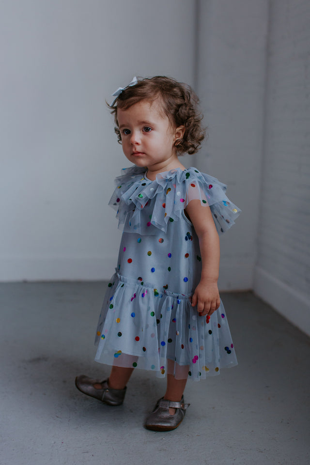 gray tulle dress little girl