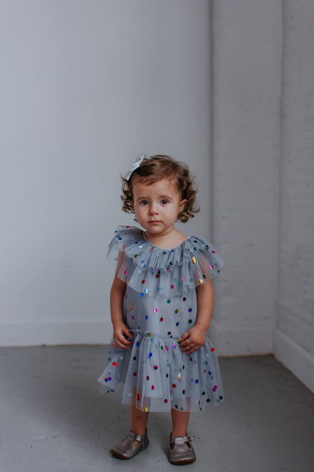 gray tulle little girls special occasion dress
