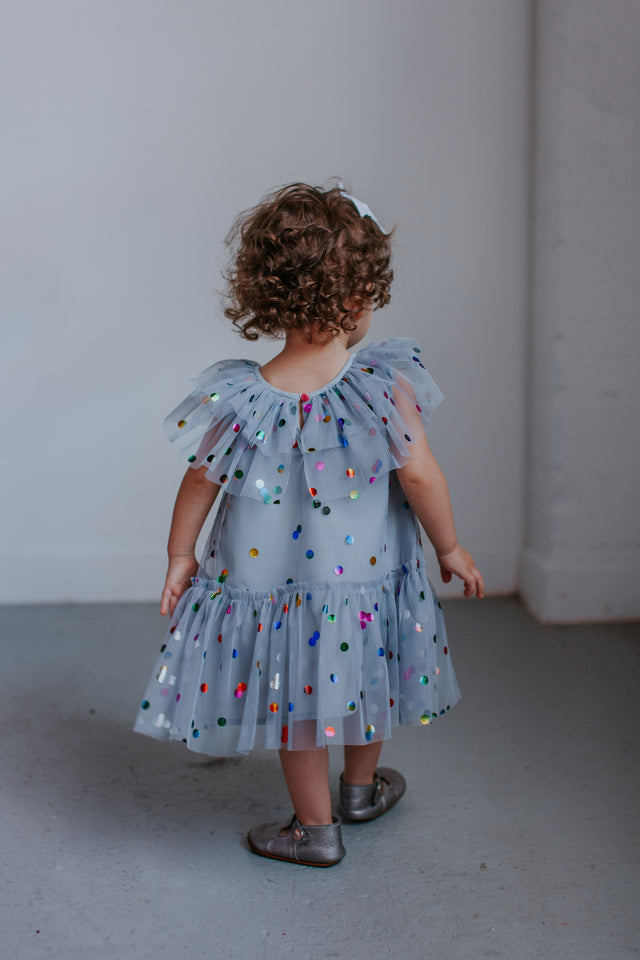 Girl's Gray Tulle Confetti Polka Dot Party Dress