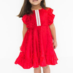 Girl's Red Velvet Flutter Sleeve Christmas Dress