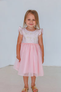 pink and gold little girls party dress