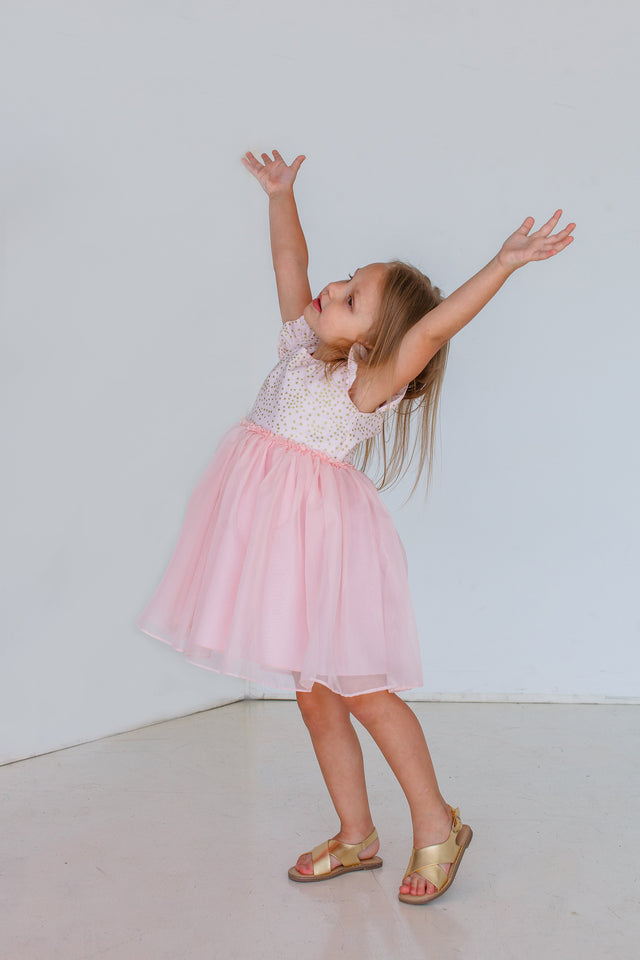 pink and gold star birthday party dress