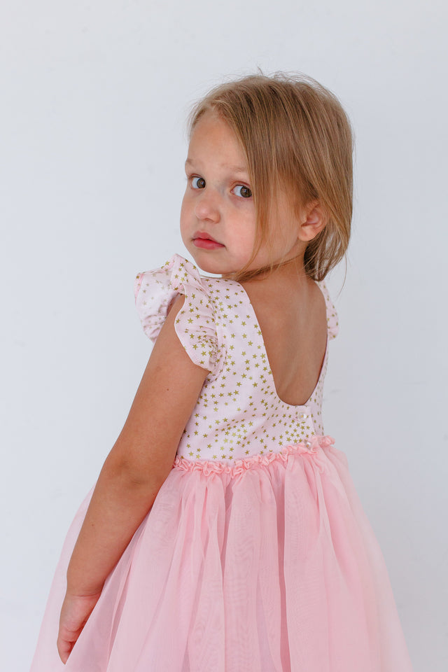 little girls pink and gold birthday party dress
