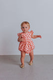 infant girl's orange floral bubble romper