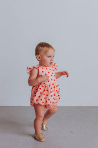 infant girl's floral first birthday outfit