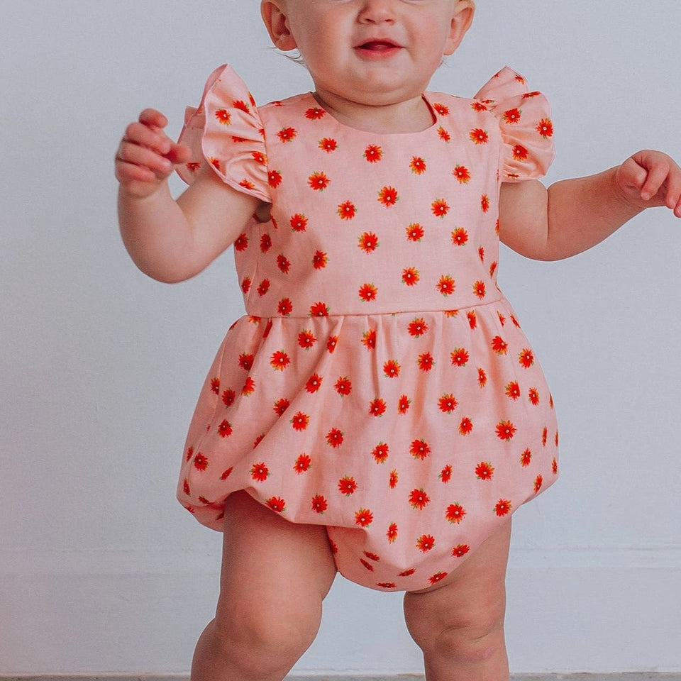 Infant Girl's Orange Floral Ruffle Cotton Bubble Romper