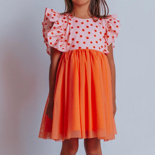 Little Girl's Orange Floral Tulle Ruffle Dress