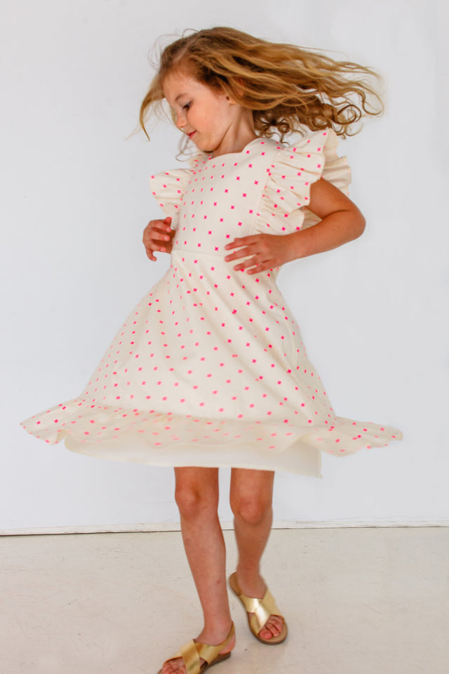 Girl's Ivory and Bright Pink Flutter Sleeve Pinafore Style Dress