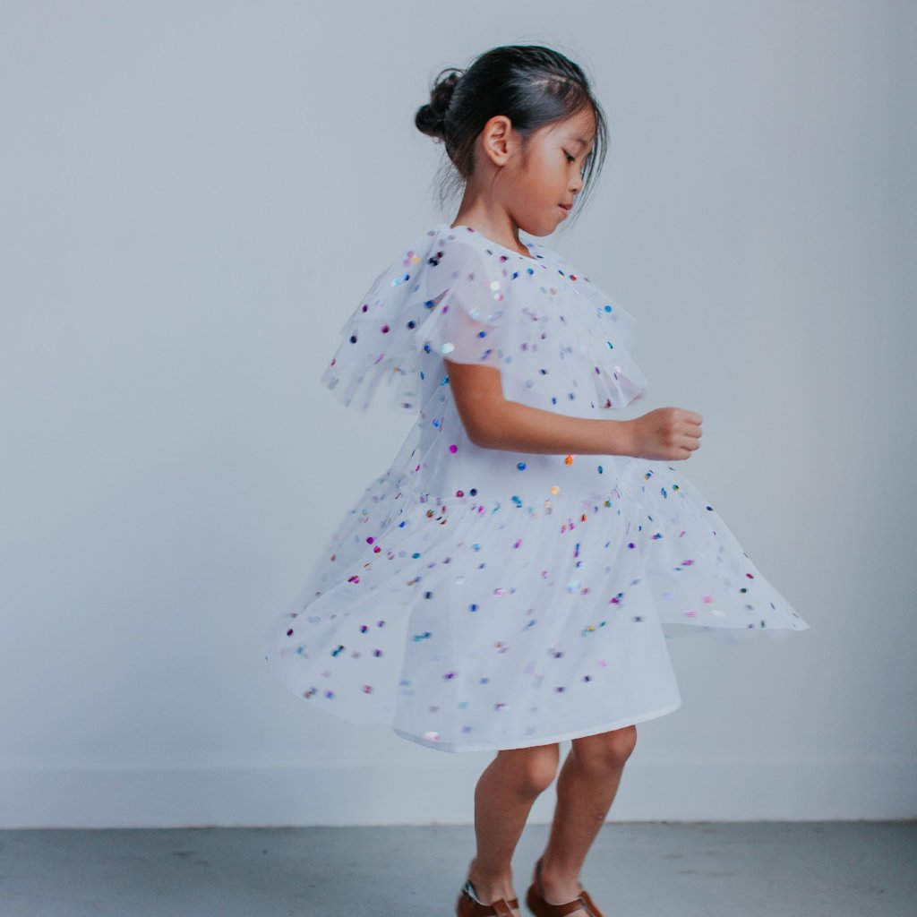 Girl's White Tulle Confetti Polka Dot Party Dress