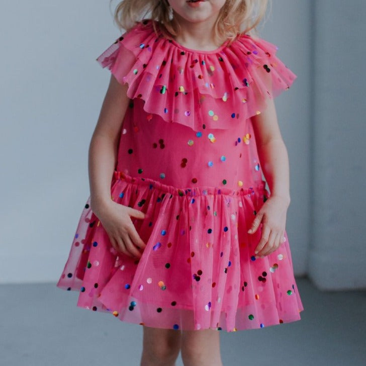 little girls pink tulle dress