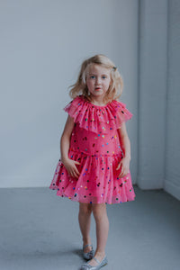 Girl's Pink Tulle Confetti Polka Dot Party Dress