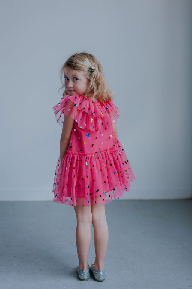 girls pink tulle party dress