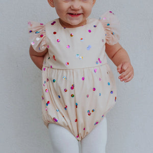 Infant Girl's Ivory Confetti Tulle Bubble Romper