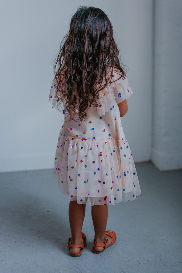 little girls off white tulle dress