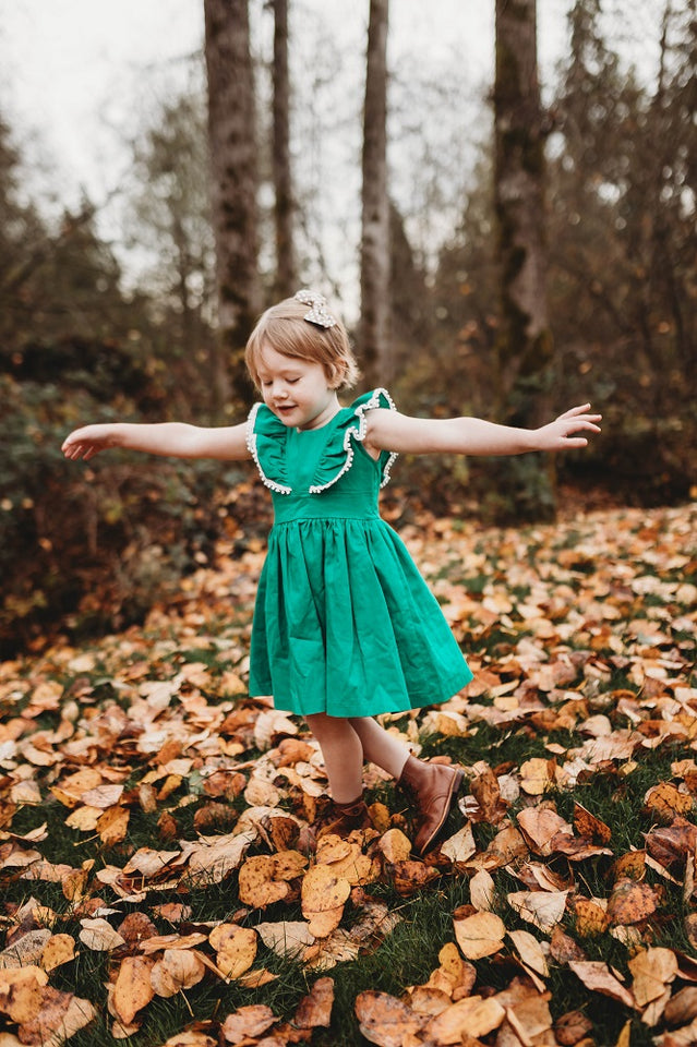 Little Girl's Kelly Green Linen Ruffle Dress