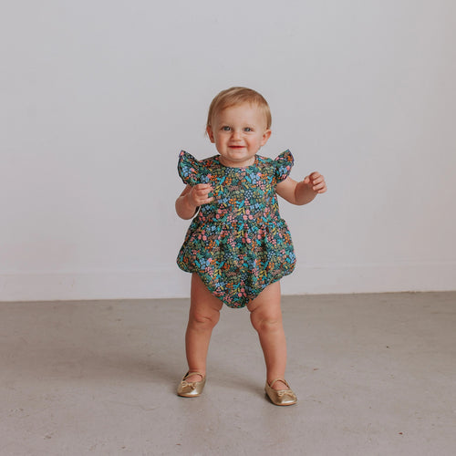 Infant Girl's Navy Floral Ruffle Cotton Bubble Romper