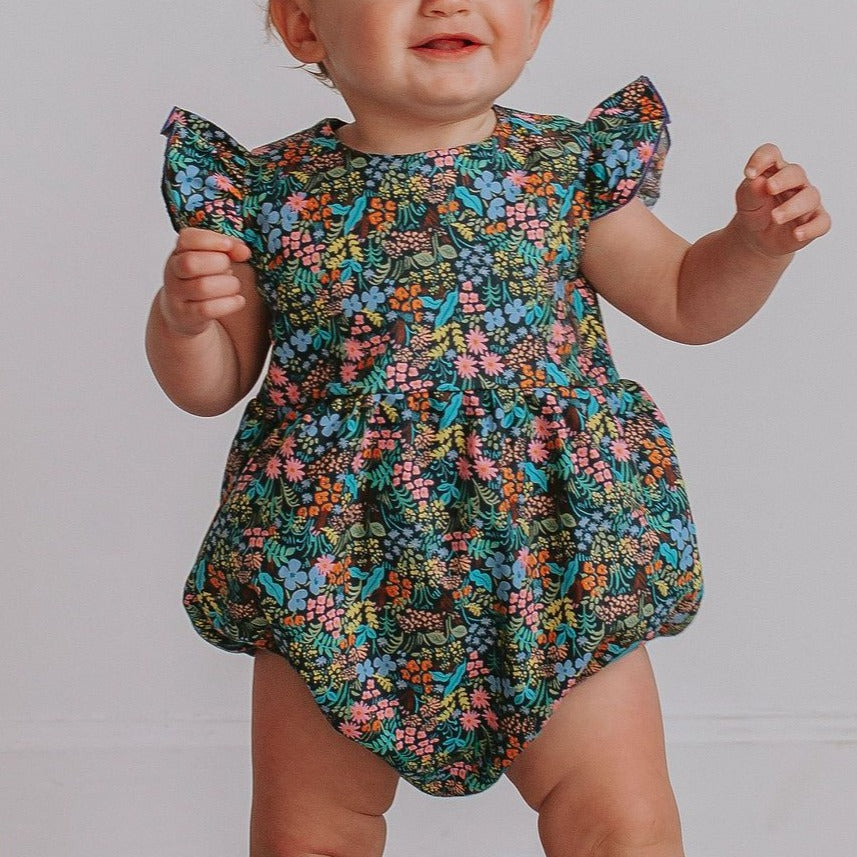 infant girls navy floral bubble romper