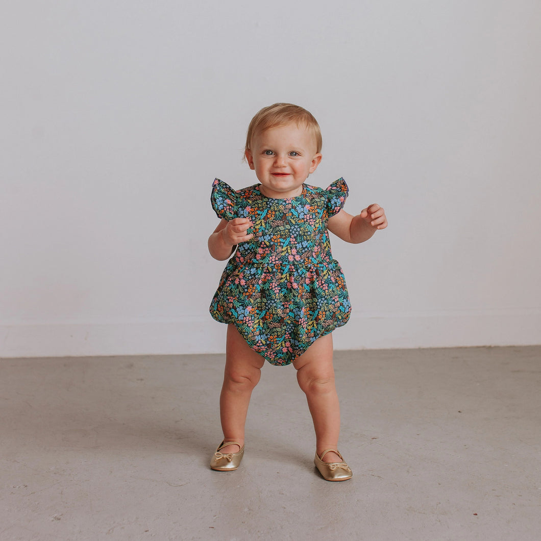 Infant Girl's Navy and Pink Floral Ruffle Cotton Bubble Romper