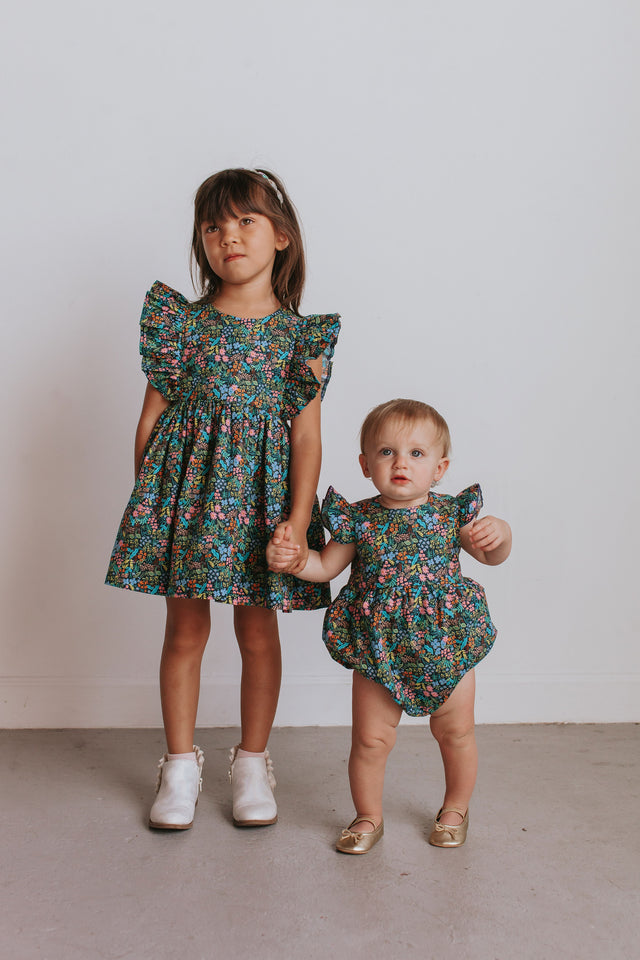 little girls floral matching boho dress and romper