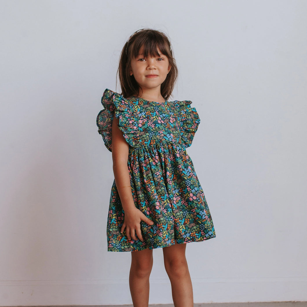 Girl's Navy and Pink Rifle Paper Floral Print Ruffle Cotton Dress