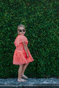 Girl's Coral Orange Tulle Confetti Polka Dot Party Dress