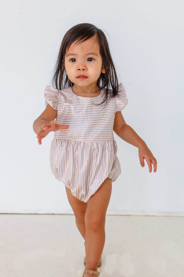 rose gold stripe romper