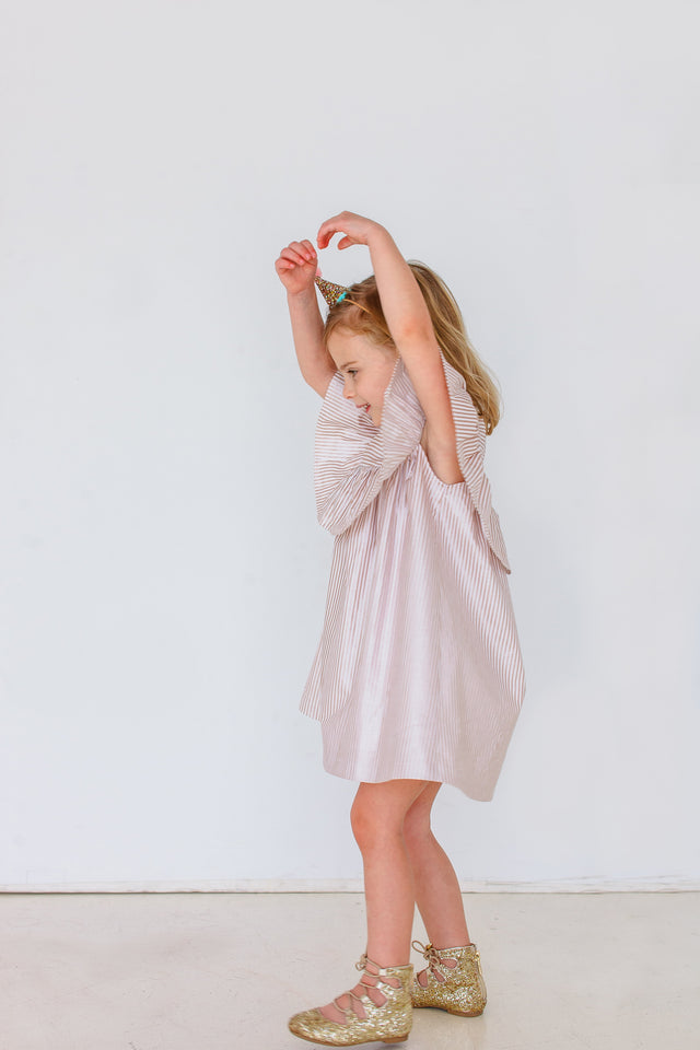 little girls rose gold party dress