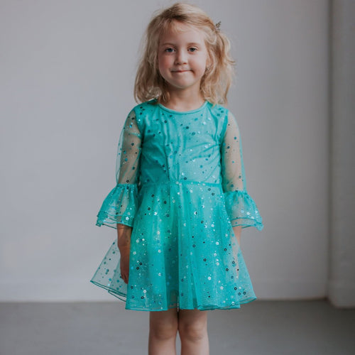 green tulle bell sleeve dress
