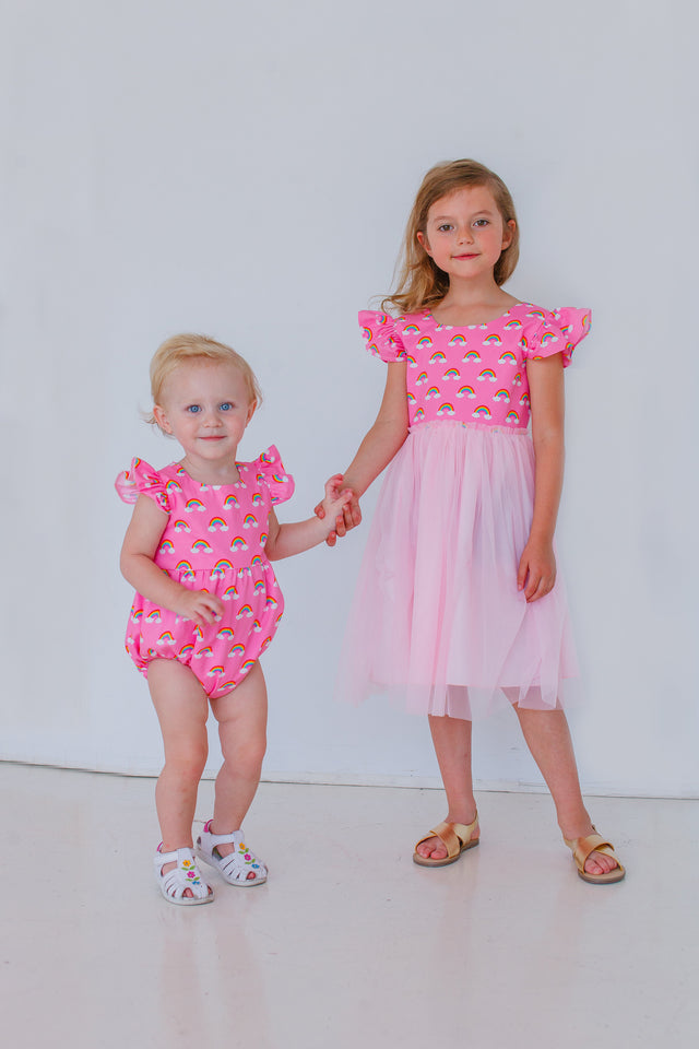 pink rainbow matching dresses