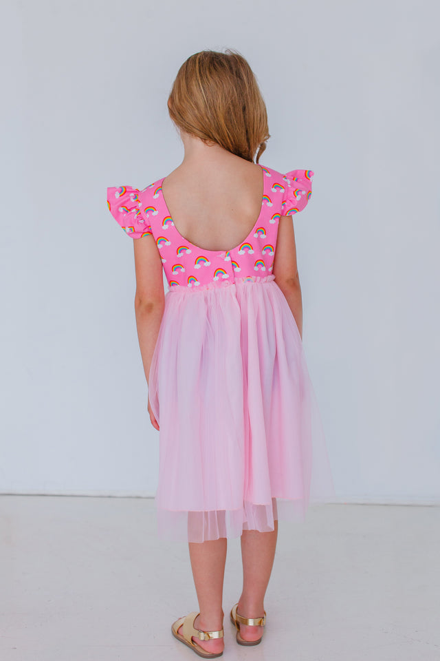 low back pink little girls dress