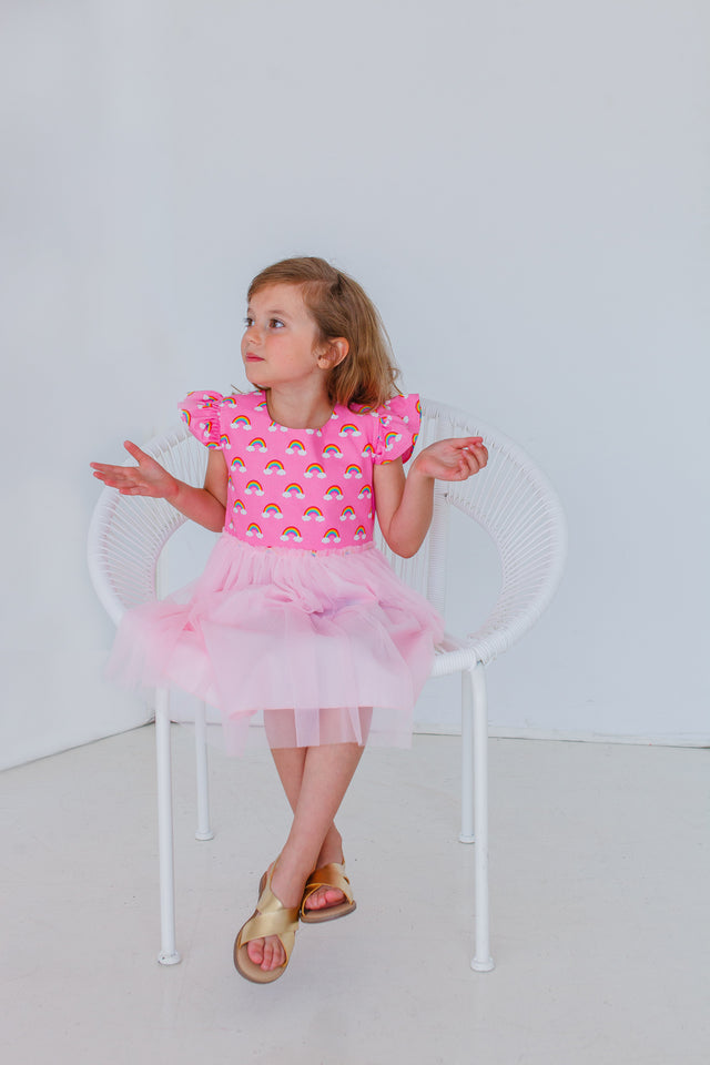 Little Girl's Pink Rainbow Tulle Dress
