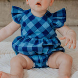 Infant Girl's Navy and Blue Plaid Ruffle Sleeve Bubble Romper