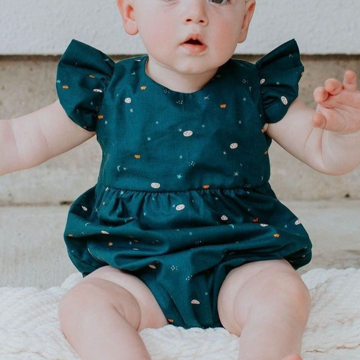 Infant Girl's Navy Stargazing Print Ruffle Sleeve Bubble Romper