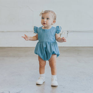 chambray romper baby