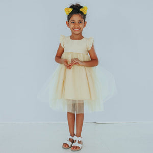 Belle Yellow Silk Flower Girl Dress