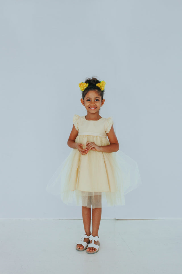 yellow flower girls dress