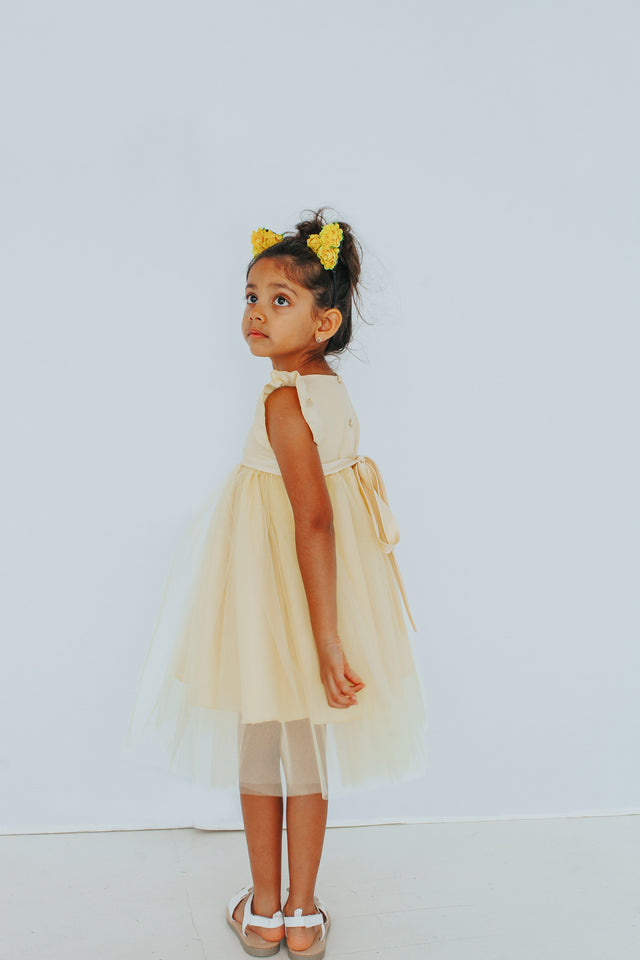 pale yellow flower girl fress