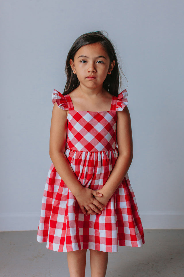 girls red and white plaid dress