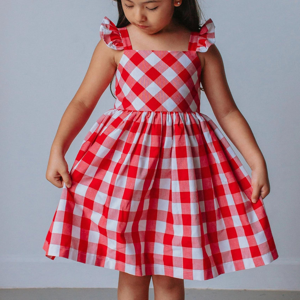 little girls red and white plaid dress