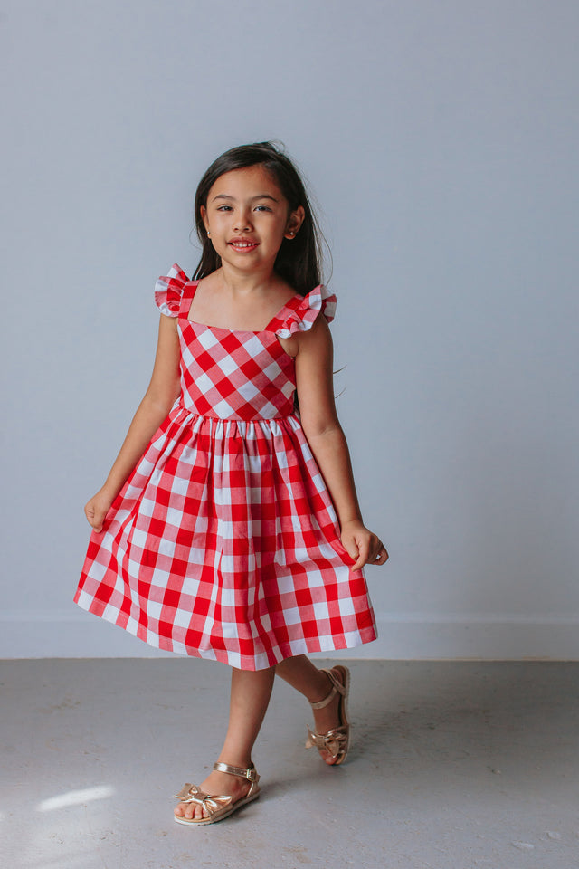 little girls red and white buffalo plaid dress