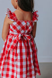 Girl's Red and White Buffalo Plaid Cotton Dress