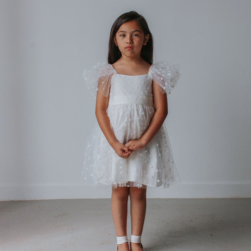 Little Girl's White Tulle Polka Dot Dress