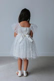 little girls white tulle polka dot dress