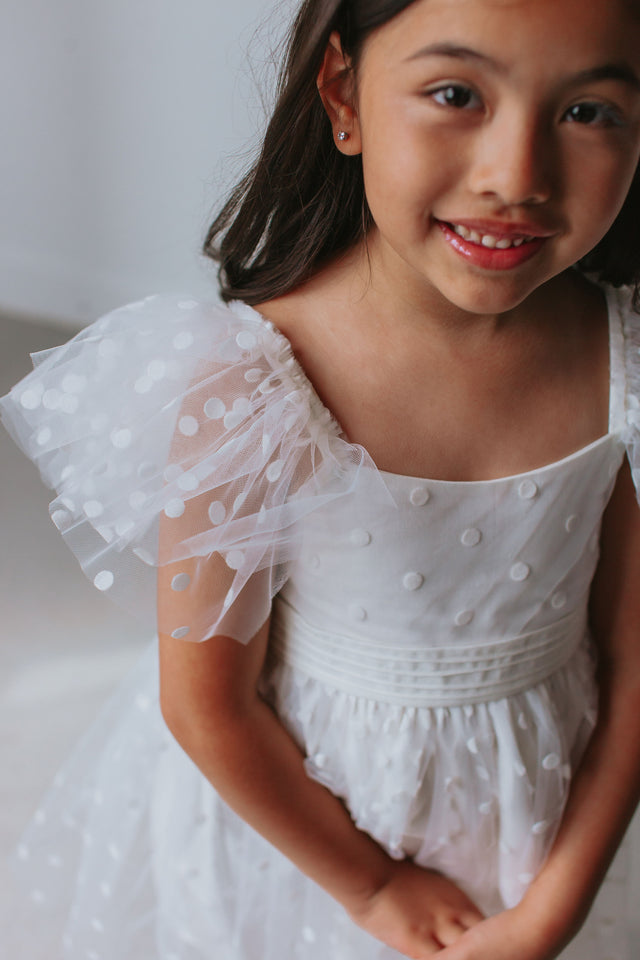 little girls white tulle flower girl dress