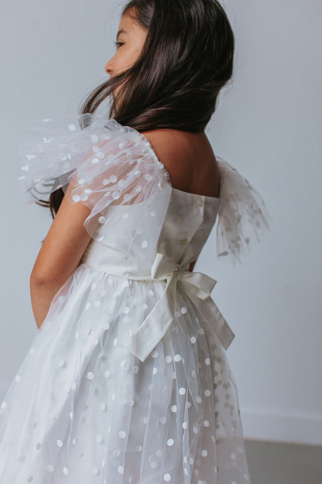 white tulle dress