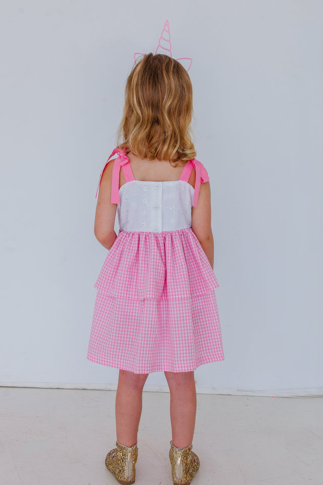 pink gingham and eyelet dress