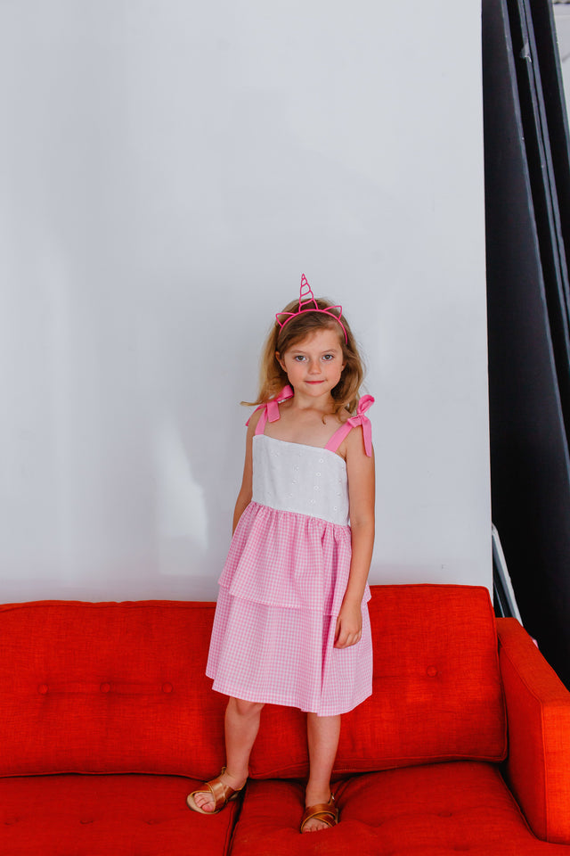 pink and white kids dresses