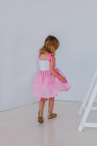 pink and white party dress