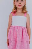 pink and white little girls party dress